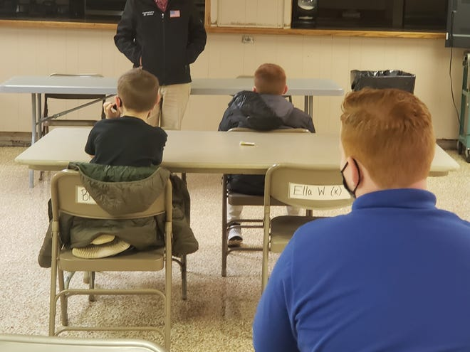 US Rep. Bill Johnson (R-OH, 6th District) speaks to students at St. Benedict School on Wednesday about the election process.