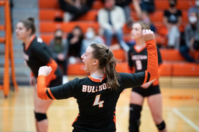 Dalton's Mia Weaver celebrates after a point against Loudonville in the district semifinals. Weaver is one of three Bulldogs players who were rotation mainstays a year ago.