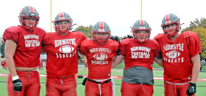 These five -- (L to R) Colby Morlock, Gage Hamilton, JJ McCune, Blake Dichler and Trent Barstow -- have started on the Norwayne offensive line most of this season. Owen Stoudmire (All-Daily Record offensive tackle recently returned from injury) and Joey Raudebaugh (tight end) also make major blocking contributions.