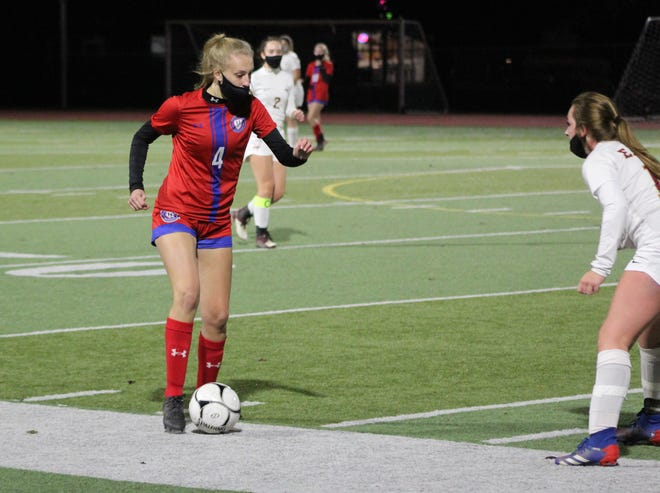 Hornell's Tayghan Doorley surveys her options on Wednesday evening against a Way-Co defender at Maple City Park.