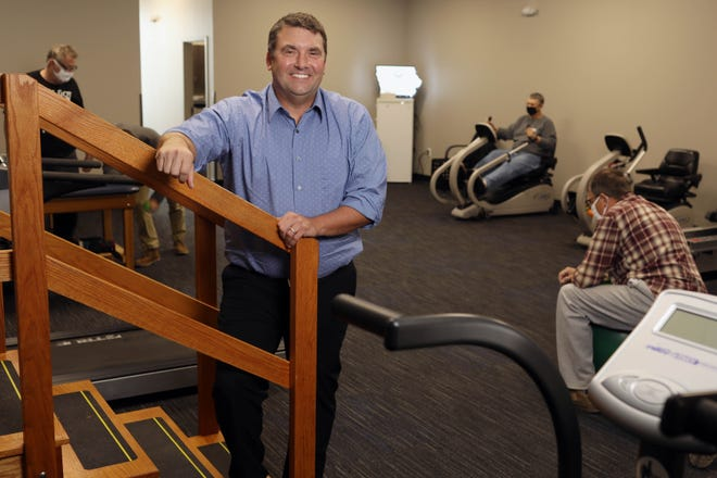 Chris Schroeder, a physical therapist at Rock Valley Physical Therapy, Thursday Oct. 29, 2020 in their new Burlington location at 3180 Agency Street.