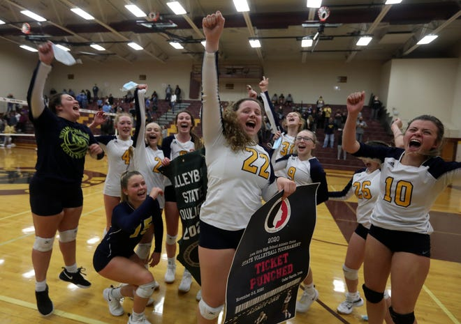 Notre Dame High School players  celebrate  their Class 1A Region 8 final victory  over WACO High School, Wednesday Oct. 28, 2020 at Mount Pleasant.