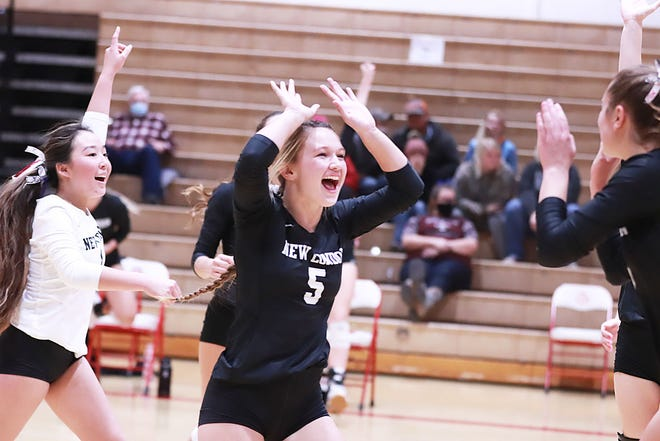 Elly Manning (5) celebrates at point scored by the Tigers in the 3-0 win over Southeast Warren in a Class 1A regional final Wednesday at Ottumwa.