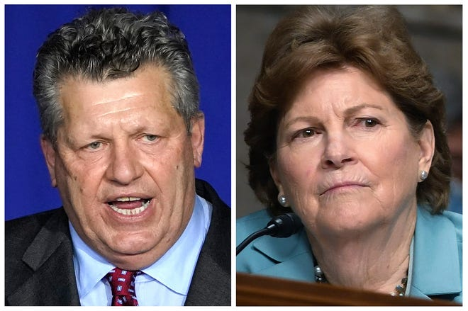 """Republican Bryant """"Corky"""" Messner, left, and incumbent U.S. Sen. Jeanne Shaheen, D-NH, right, New Hampshire candidates for the U.S. Senate in the Nov. 3 general election. (AP Photos, File)"""