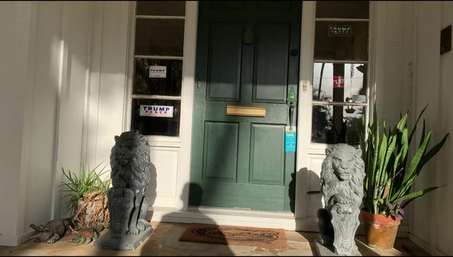 The front door of Duval County Canvassing Board Chairman Brent Shore's Atlantic Beach home. Shore, a county judge, donated 12 times to Trump, even though he is prohibited from doing so.