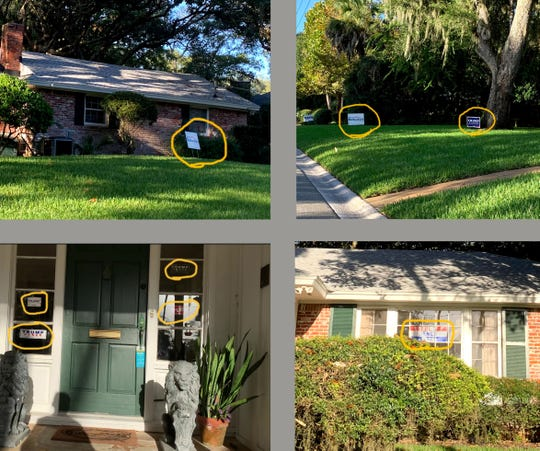 Photos from the home of Duvall County Judge Brad Shore showing six signs for Donald Trump and two for John Rutherford.