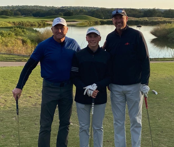 From left, Mark Andersen, Ethan Howard and Bruce Banz won the Glen Rose Glow Ball Tournament last Saturday at 13-under par.