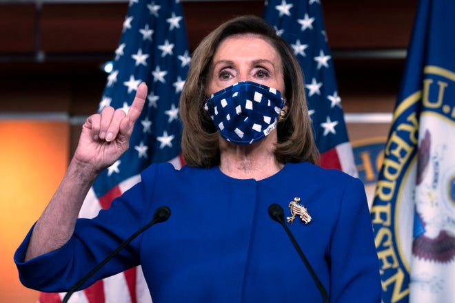 Speaker of the House Nancy Pelosi, D-Calif., speaks during a news conference on Capitol Hill in Washington on Oct. 22.
