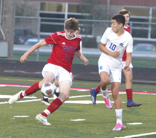 Moberly midfielder Connor Tenney (No. 14) and the soccer Spartans dropped an 8-0 decision Tuesday to Hannibal. The Spartans are the third-seed of the Class 2 District 6 tournament they host next week, and open the venue Nov. 3 playing Mexico at 7 p.m.
