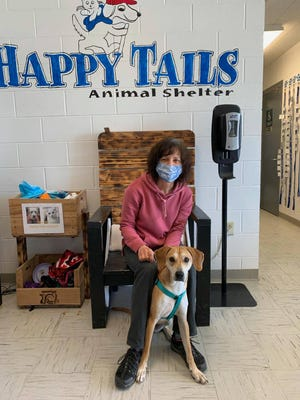 Jeanne Kaminsky, a volunteer at the Happy Tails Animal Shelter, and her husband, Bruce, fostered and then adopted Maddy from the shelter at the Ontario County Humane Society in Hopewell.
