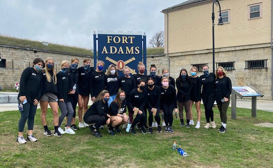 Members of the Salve Regina women's soccer team pose for a photo after helping clean up Fort Adams on Oct. 24.