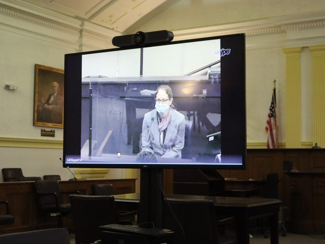 Ann Bunch, a forensic pathologist, testified Thursday, Oct. 29, 2020, in Oneida County Court during the trial of Jason D'Avolio.