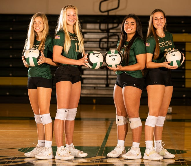 Four Trinity Catholic volleyball players are sisters of former players to play under coach Jeff Reavis. From left, McKenna Yates, Amelia Fitzpatrick, Kiana Laborde, and Emily Ewers.