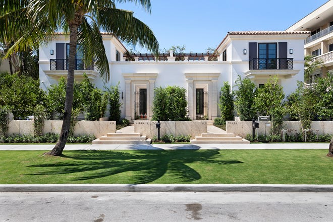 """Completed this year, both units in a Palm Beach townhouse duplex marketed as an """"in-town residential compound"""" have sold at 237 Brazilian Ave. for a combined $13.67 million, according to courthouse records."""