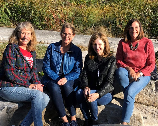 The founders of the local Brain Trust for Greater Good who donated $1,000 in gift cards for school supplies to the City Welfare Department. From left, Kathryn Garcia, Joanne Wolfe, Julie Johnson and Lisa Vivinetto.