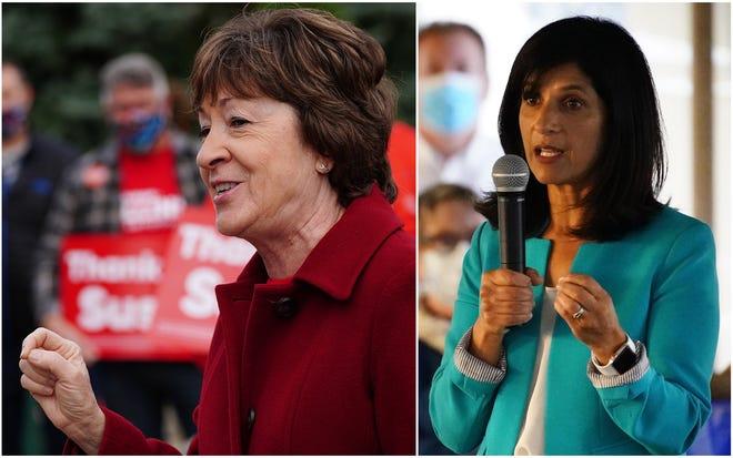 Republican incumbent Sen. Susan Collins (left) is facing Democratic challenger Sara Gideon in the Nov. 3 election.
