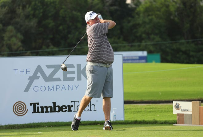 Mark Calcavecchia tees off while practicing for this week's TimberTech Championship at The Old Course at Broken Sound