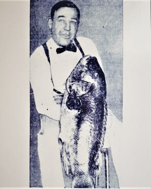 In 1954, Conrad Sundquist of Cranston caught this record tautog, 21 pounds and 4 ounces, off Beavertail.