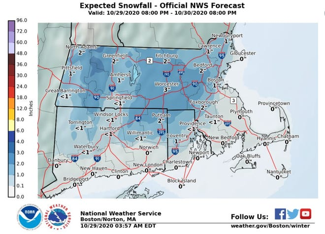 The National Weather Service says part of Rhode Island could see its first snow of the season overnight Thursday into Friday.
