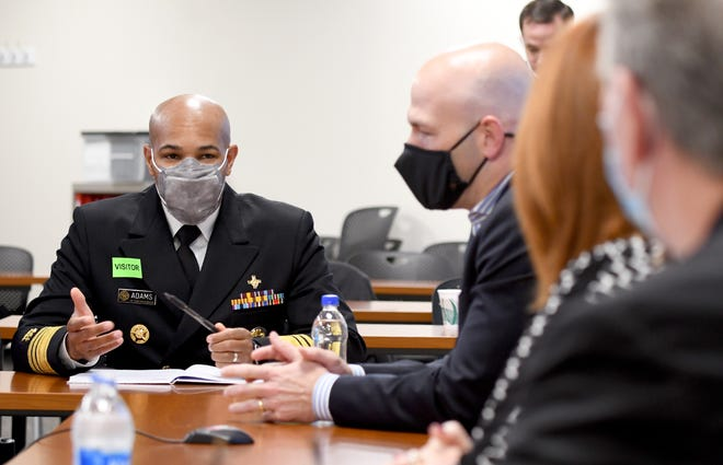 US Surgeon General Jerome Adams speaks during a roundtable health leaders from Mercy Medical Center and virtually from Aultman to learn more about the effects of the COVID-19 crisis locally. Thursday, October 29, 2020.