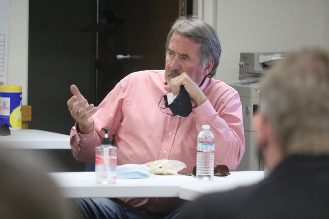 Congressman Doug LaMalfa talks to a group of officials from FEMA, Cal OES and Siskiyou County on Wednesday, Oct. 28, 2020, about recovery efforts from the Slater Fire in Happy Camp.