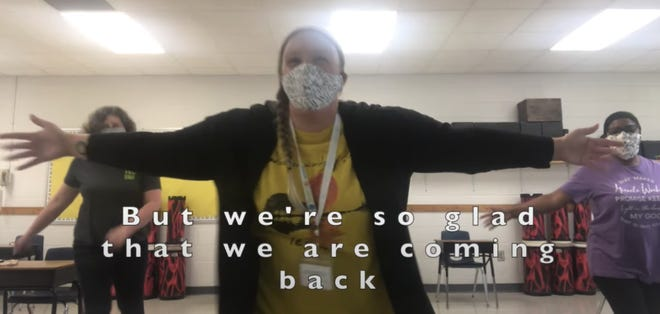 "A shot from a Pender County music video talking about the importance of masks in schools set to the tune of ""Ice Ice Baby."""