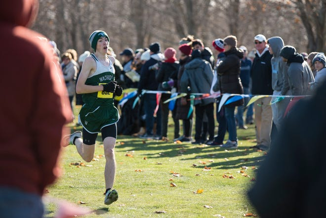 Wachusett's Tim Brigham finishes 19th at the Central Mass Boys' Cross Country Championship Division 1 race last November.