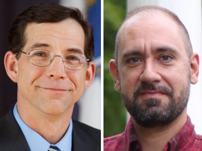State Rep. Donald Berthiaume, left,is facing a challenge from local businessman and educator Samuel Biagetti in a race for the 5th Worcester District seat this election.