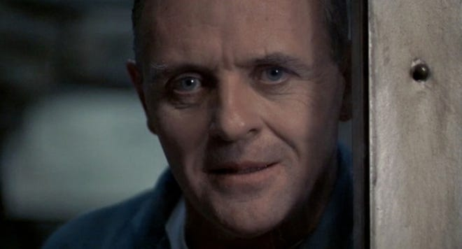 """Anthony Hopkins as Dr. Hannibal """"The Cannibal"""" Lecter in the 1991 film """"Silence of the Lambs."""""""