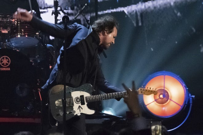 Inductee Eddie Vedder from the band Pearl Jam performs at the 2017 Rock and Roll Hall of Fame induction ceremony at the Barclays Center  in New York.