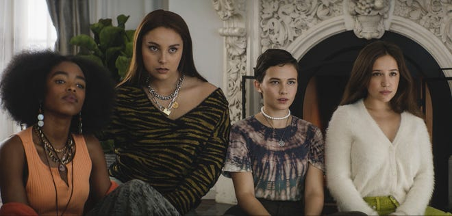 """From left, Lovie Simone, Zoey Luna, Cailee Spaeny and Gideon Adlon in a scene from """"The Craft: Legacy."""""""