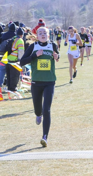 Oakmont's Fiona Picone approaches the finish line at the end of the Division 2 All-State championship last season.
