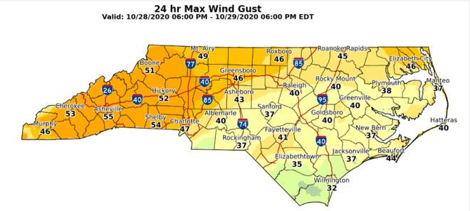 Gusts will increase through the day in central North Carolina as the remains of Zeta churn to the northeast.