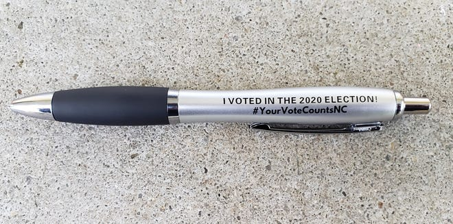 A pen, provided by the N.C. State Board of Elections, given to voters in Fayetteville and Cumberland County.