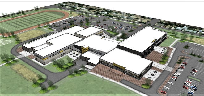 An architectural rendering of the new East High School campus.