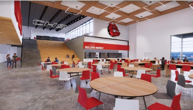 An architectural rendering of the commons dining area of the new Centennial high school.