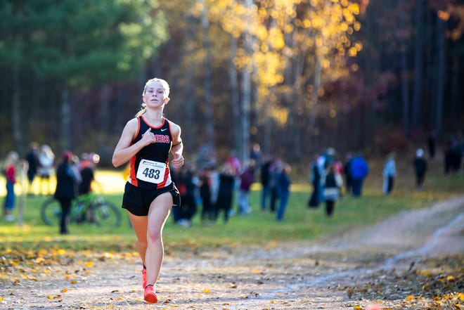 Marshfield's Eliana Kanitz competes in the Wisconsin Valley Conference Championship cross-country meet at Nine Mile County Forest on Oct. 13 in Wausau.
