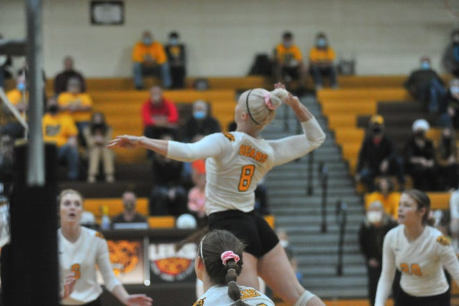 Sara Ice comes up with one of her 23 kills against Orrville. Ice surpassed the 1,000 kill mark for her career in the win.