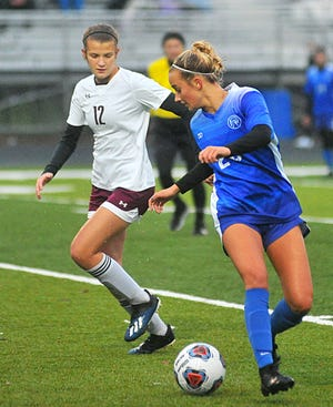 Chippewa's Ally Henegar gains possession during the Chipps' 5-0 district final.