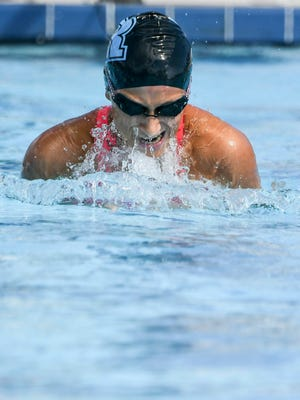 Sarah Gonzalez of Rockledge competes in the 100yd breaststroke during the girls Class 2A District 9 Championship at Cocoa Beach Aquatic Center. Craig Bailey/FLORIDA TODAY via USA TODAY NETWORK