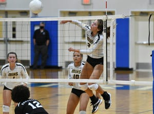 Macie Sinclair of Merritt Island drives the ball crosscourt during Wednesday's Class 5A regional semifinal match against Heritage. Craig Bailey/FLORIDA TODAY via USA TODAY NETWORK