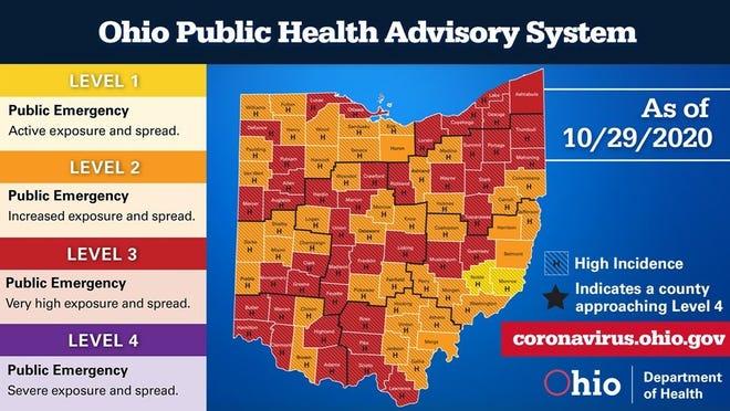 Ohio Coronavirus Public Health Advisory System updated Oct. 29. 2020.