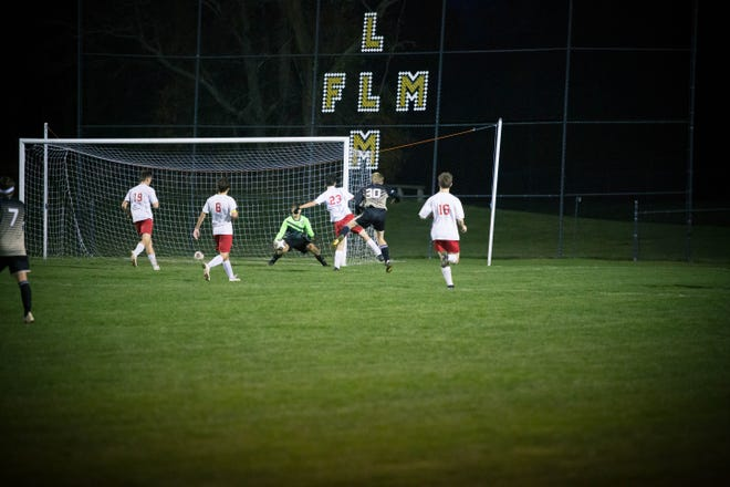 River View's Jordan Bryant finds the back of the net for the first River View goal of the first half on Wednesday night.