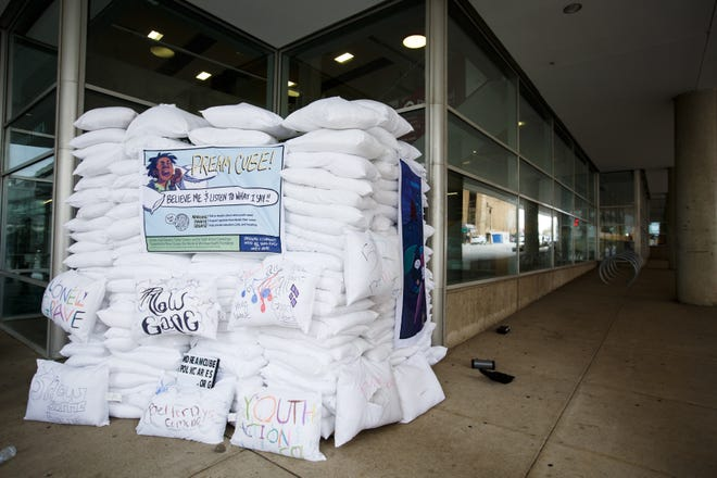 The Dream Cube is an art installation by Kub Stevens intended to bring awareness to youth homelessness in Iowa. Currently, it is on display outside the Wellmark YMCA on Thursday, Oct. 29, 2020, in Des Moines.