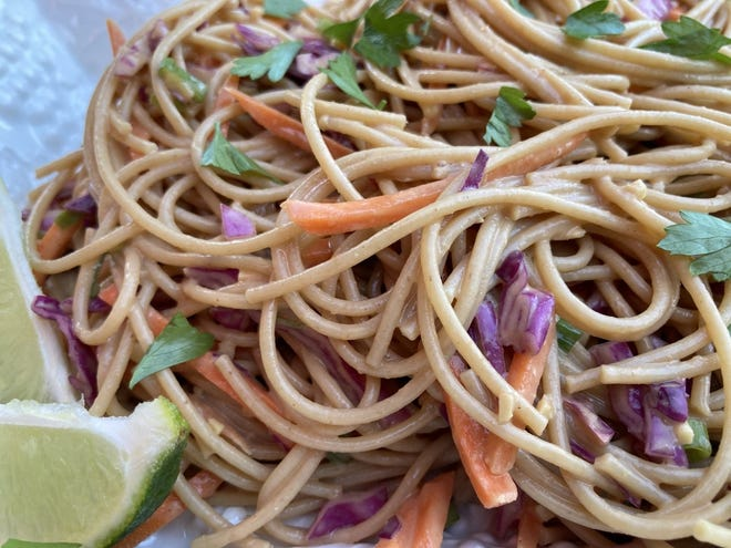 Peanut Butter Noodle salad is loaded with vegetables.