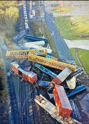 This photo provided by the Orange County Sheriff's Office shows a train derailment Thursday, Oct. 29, 2020, in Mauriceville, Texas.