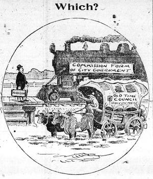 This political cartoon, which appeared in The Gleaner of Oct. 31, 1920, tried to convince Henderson voters to abolish the old city council form of government the city had used for 68 years and approve a city commission form of government. The commission form was overwhelmingly adopted, although it didn't take effect until the first of 1922.