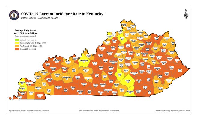 COVID-19 Current Incidence Rate map in Kentucky as of Wednesday, Oct. 28