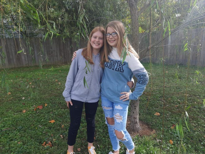 Brittney Wright, right, with twin sister Chelsea.