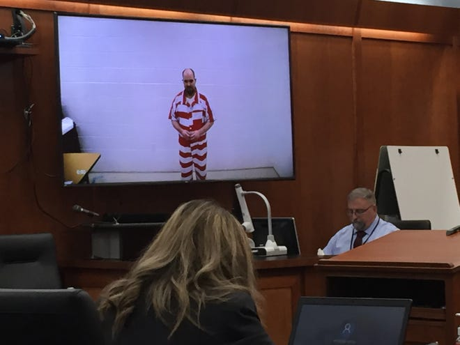 John Petitt appears by video during his change of plea hearing on Thursday. Richland County Assistant Prosecutor Amanda James is in the foreground. Bailiff Chuck Kochis is seated at the right.